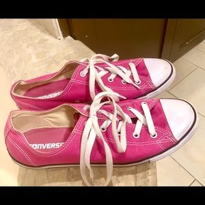 Pink converse sneakers, size 10